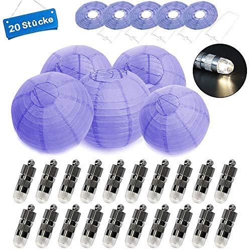 terne Lampions rund Lampenschirm + 20er Warmweiße Mini LED-Ballons Lichter 10