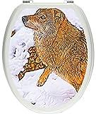 pixxp Rint 3D WCS 3368_ 32x 40Beau Loup dans la Neige comme Matériau Doux Autocollant pour abattant de Toilettes, WC, Klo Couvercle, Brillant, Multicolore, 40x 32cm