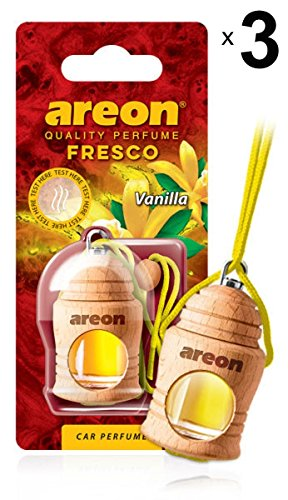 Areon Fresco Ambientador Vainilla Coche Perfume Casa Olor Liquido Botella Mini Original Madera Colgar Colgante Amarillo Retrovisor Oficina 3D 4ml ( Vanilla Pack de 3 )