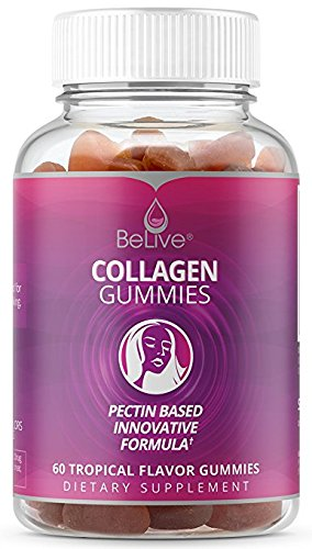 Collagen Marine Gummies Hydroylzed Supplement - Promotes Healthier & Younger Skin, Hair & Nails | 100% Natural, GMO-FREE, Pectin Based. Tropical Flavored 60 Count
