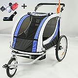 Style home 2 in 1 Fahrradanhänger Kinderanhänger 360° drehbar Vorrad Kinderwagen für 1-2 Kinder Jogger Buggy Radanhänger Transportanhänger mit Kupplung und Beleuchtung 3 Farbauswahl (JG01-BW-002-01)
