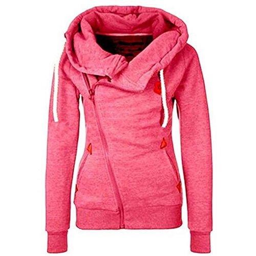 Felpa con cappuccio donna obliqua con cerniera colore solido Felpa con cappuccio manica lunga e slim fit con cappuccio Minzhi rosa rossa