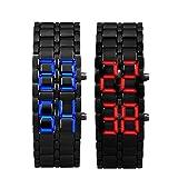 Internet 2 x Lava Style Iron Samurai schwarz Armband LED Japanisch inspirierte Watch rot / blau