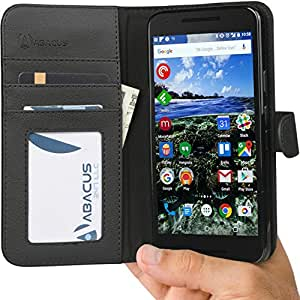 Nexus 5X Case, Abacus24-7 Google Nexus 5X Wallet Case, Leather Flip Cover, Card Holder and Kickstand - Black 5X Flip Case