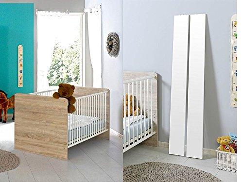 Babybett Kinderbett Juniorbett Komplettset ELISA in Eiche Sonoma/weiß mit höhenverstellbarem Lattenrost und Umbauseiten, komplett Set -