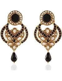 79eaf53c677 I Jewels Tradtional Gold Plated Kundan   Stone Shape Earrings for Women( Black)(