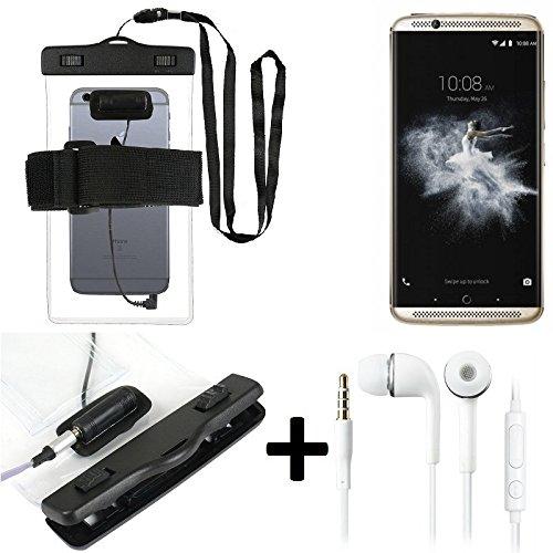 Wasserdichte Hülle mit Kopfhörereinlass für ZTE Axon 7 + headset, transparent | Jogging Armband Wasserfeste Handyhülle beach bag outdoor Beutel Schutzhülle Unterwasser case für Strand - K-S-Trade (TM)
