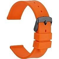 WOCCI Cinturino Orologio in Silicone con Fibbia in Acciaio Inossidabile Nero, Cinturini di Ricambio 18mm 20mm 22mm 24mm