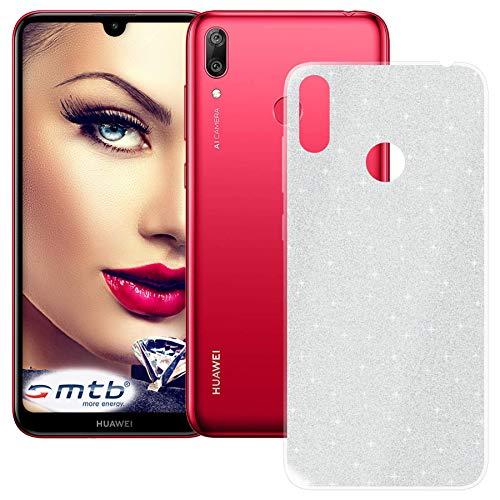 mtb more energy® TPU Hülle Shine für Huawei Y7 2019 | Y7 Prime 2019 (6.26'') | Silber | Glitzer-Effekt | flexibel | Schutzhülle Case Cover Tasche