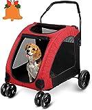amzdeal Hundewagen Pet Stroller, Faltbarer Hundebuggy mit 4 Eva-Rädern, festem und atmungsaktivem Transportwagen bei 60 kg für Hunde, Katzen und Haustiere