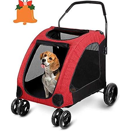 amzdeal Hundewagen Pet Stroller, Faltbarer Hundebuggy mit 4 Eva-Rädern, festem und atmungsaktivem Transportwagen bei 60…