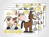 GRAZDesign 411021_4 Fenstersticker Bauernhoftiere | Fensterbild für Dein Kinderzimmer | Glasdekor für Fenster (DIN A4 (4Stück))