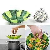 Faltbarer kratzfeste Gemüse Dämpfkorb, Küche Kochen Werkzeug, Grün
