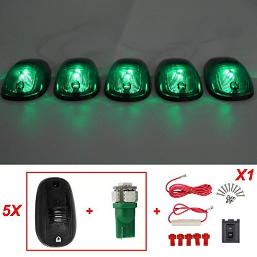 partsam-5pcs-smoke-822072ac-roof-cab-marker-light-5050-t10-green-led-for-2003-2012-dodge-ram-by-part