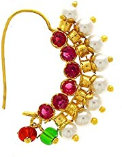 Amaal Traditional Maharashtrian Pink Gold Pearls Banu Nath Nose Rings For Girls And Women