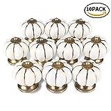 ONSON Schubladenknöpfe, 10Pcs Keramik Vintage Kürbis Schublade Knopf Türgriff ziehen für Küche und Home Möbel Dekorieren(Weiß)