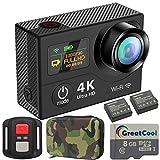 GreatCool Cámara Deportiva 4K Wifi Doble Pantalla Camera Impermeable Control Remoto...