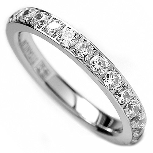 Ultimate Metals Co. 3MM Ladies Titanium Eternity Engagement Band, Wedding Ring With Pave Set Cubic Zirconia Size N