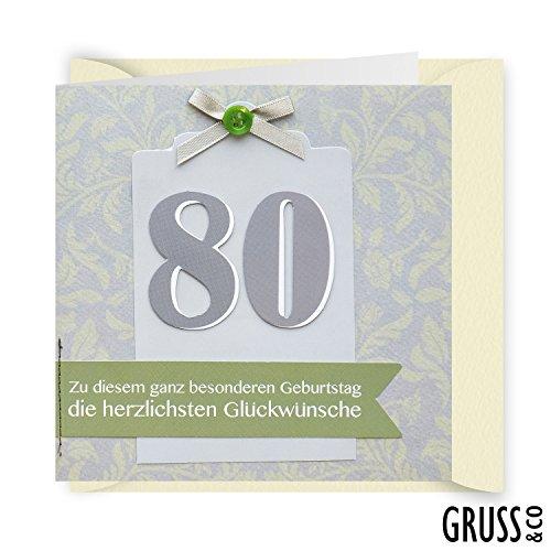 Knopfkarte 27 - Zum Geburtstag 80 - Geburtstagskarte