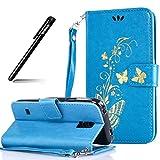 Galaxy S5 Mini Tasche,BtDuck PU Leder Gold Schmetterling Handyhülle Ultra Slim Silikon Back Cover Brieftasche Stand Magnetverschluss Kartenfach Hülle Schutzhülle Samsung Galaxy S5 Mini Blau
