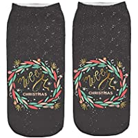 ☺HWTOP Knöchelsocken Weihnachtsfrauen Sneaker Söckchen Unisex Sportsocken Baumwoll Socken Kurzsocken 3D Cartoon Lustige Nette Boots Schuhe für Herren & Damen & Mädchen & Jungen 1 Paar