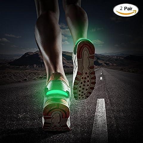 Led clignotant Chaussures Clip, 2Paire Clip Outdoor Sport Bright Light avertissement de sécurité de nuit pour sport en extérieur Nuit coureurs joggeurs motards enfants, noir