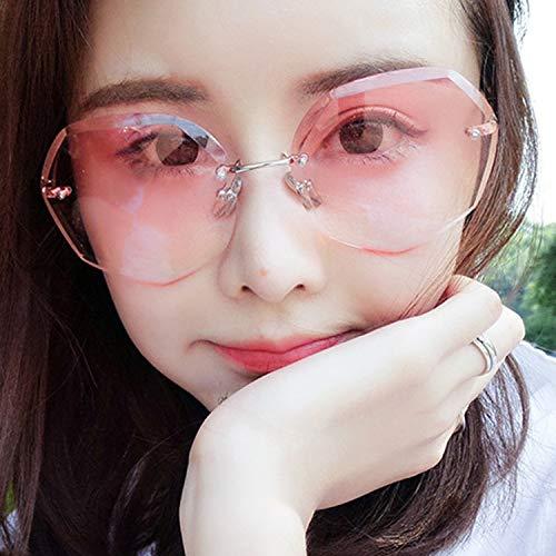 ANDIAOG-Home Rahmenlose polygonale Sonnenbrille Damen Big Box Round Face Fashion Sonnenbrille 2019 Net Red Star Sonnenbrille (Color : Red) (Red Star Sonnenbrille)