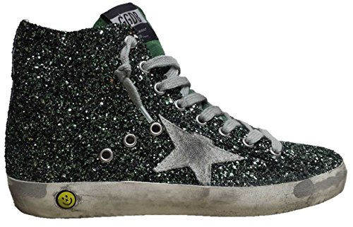 GOLDEN GOOSE SNEAKERS FRANCY HIGH TOP ESMERALD GLITTER VERDE SMERALDO G28KS502.Q3