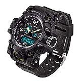 WMWMY LED Électronique Men's Sports Chronographe Montre Homme Affichage Date Semaine Réveil Militaire Armée Watch, 1