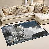 coosun weiß Pferd in die Wellen Bereich Teppich Teppich rutschfeste Fußmatte Fußmatten für Wohnzimmer Schlafzimmer 152,4x 99,1cm, Textil, multi, 60 x 39 inch