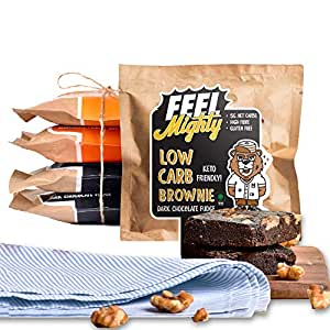 Feel Mighty Keto Friendly Low Carb Assorted Brownies- High Protein,Sugar-Free - 3 Dark Chocolate & 2 Peanut Butter Flavoured Desserts