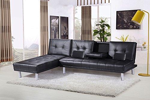 Divano Rosso Ecopelle : Sleep design manhattan divano letto angolare con chaise longue in