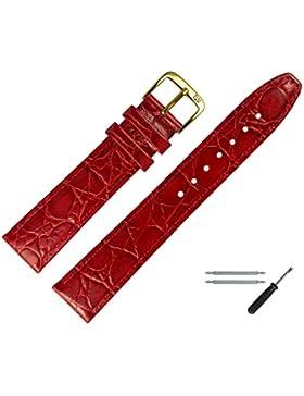 Uhrenarmband 10 mm Leder rot - inkl. Federstege & Werkzeug - Armbanduhren Ersatzband mit Krokoprägung - Marburger...