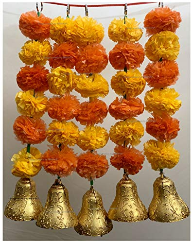 SPHINX Artificial Marigold Fluffy Flowers and Golden/Silver Hanging Bells Short Garlands/Torans/Wall hangings/Latkans for Decoration Approx 1.2 ft- Pack of 5 Strings (Light & Dark Orange)