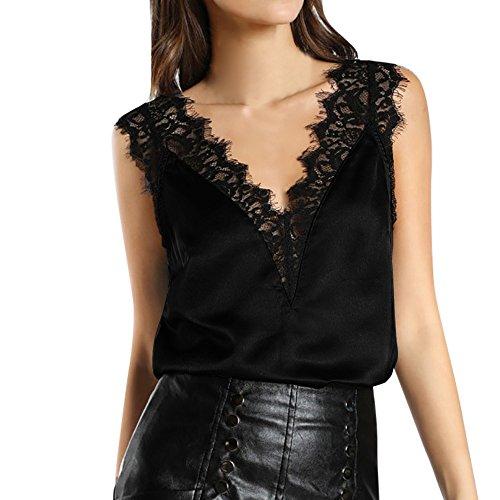Preisvergleich Produktbild Elecenty Damen Lose Bluse, Frauen Crop Tops Blusenshirt Elegant Slim Spitze Patchwork Oberteil Strandbluse