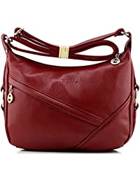 Bagtopia Women'S Casual Small Hobo Shoulder Bags Water-Resistant Pu Leather Cross-Body Purses For Ladies(Red)