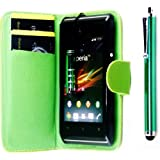 R.BAWA. Pack Containing 5 Parts. Green Leather Wallet Case FOR SONY XPERIA E + 2 Screen Protectors + 2 Stylus Pens