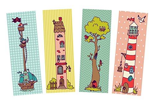 Lesezeichen Set 4-teilig, 4 Lesezeichen, Lesezeichen Kinder, Kinderlesezeichen Pappe