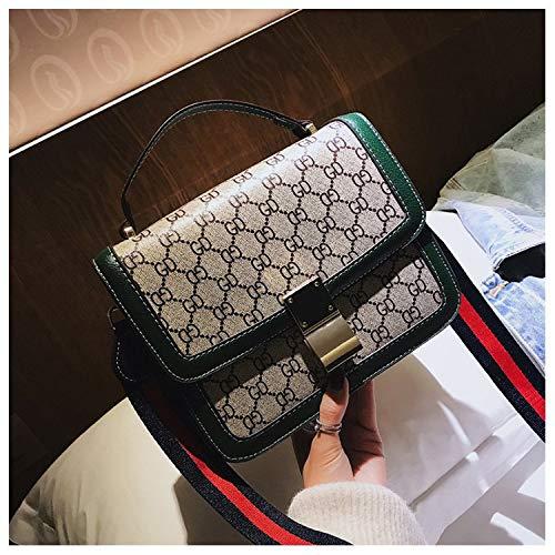Ldyia Tasche Frauendruck Umhängetasche quadratische Tasche Mini quadratische Tasche Schloss Schnalle Tasche Wilddruck Schulter Diagonale Tasche, grün -