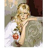 qiyan Triste Rubio Rosa Figura de la Mujer Pintura Digital de DIY por números en la Lona, Pintura Moderno Arte de la Pared de Lona Pintura único Regalo, decoración para el hogar.40x50cm.