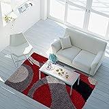 Teppich Shaggy-Design Hochflor Langflor mit Patchwork-Muster für Wohnzimmer/ Schlafzimmer in Rot/ Grau, Größe: 160 x 230 cm