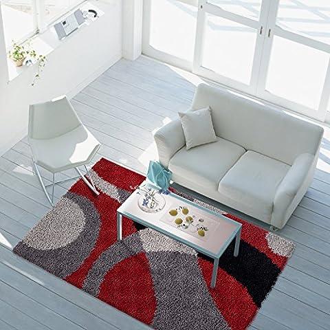 Teppich Hochflor Shaggy Wohnzimmer Patchwork Kreis Rot Grau Schwarz Öko Tex 60x110 cm