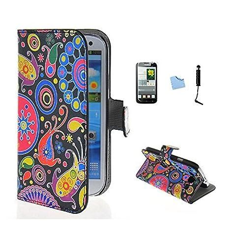 E-Max 4 en 1 Wallet Flip Case Cover Housse Portefeuille Etui Pour Coque Samsung Galaxy Grand Neo (GT-i9060, GT-i9060DS, GT-i9060L) , Stylus et Film protecteur inclus, modèle 06