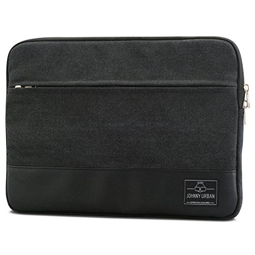 Johnny Urban Laptophülle 13-13.3 Zoll Anthrazit/Schwarz Canvas Laptop Sleeve Laptoptasche Hülle für Surface Book, Acer, ASUS, Samsung, Dell UVM. - 13/13.3