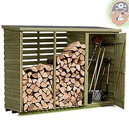 Holz Brennholzregal mit Geräteschrank