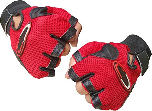 Alaska Polo Soft Leather Gym Fitness Gloves Netted With Wrist Grip(Free Size, Red, Black)