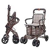 KNDJSPR Ältere Klappeinkaufswagen, Faltbare Lebensmittel-Trolley, leichte Utility Carts, mit 4 Rädern, schwere Leinwand Material, ergonomisches Design, für Ruhe, Aufbewahrungsbücher