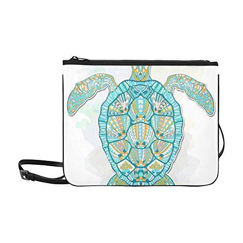 WYYWCY Tropische Fische und Meeresschildkröte Muster benutzerdefinierte hochwertige Nylon dünne Clutch Crossbody Tasche Umhängetasche -