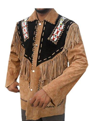 Classyak Hombres de Cowboy Western Chaqueta de Piel con Flecos y Perlas