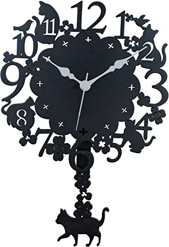 GENTIE Black Cat Clock Dear Cats Series G-1176BK aus Japan